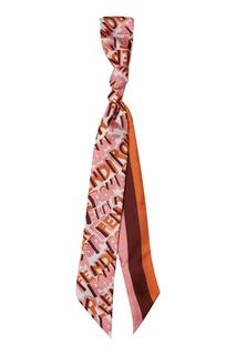 Розовый шарф-бандо с принтом Fendi