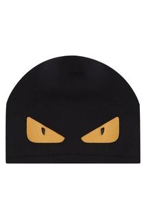 Черная шапка с аппликацией Fendi