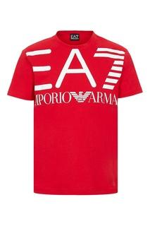 "Красная футболка с белым логотипом ""Armani"" EA7"
