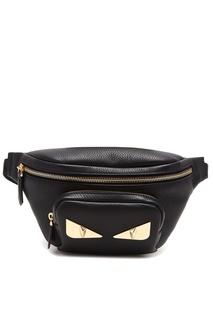 Черная сумка на пояс с аппликацией Fendi