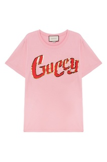 Розовая футболка с логотипом Gucci