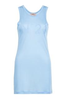 Длинная голубая майка с логотипом No21