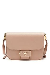 Розовая сумка с клапаном Emblème Prada