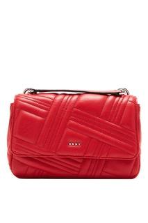 Красная сумка с фактурным узором Dkny
