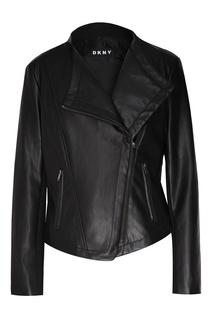Черная куртка со скошенной молнией Dkny