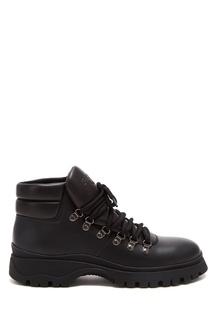 Кожаные ботинки на шнуровке Prada