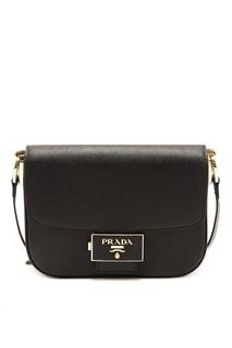 Черная сафьяновая сумка Emblème Prada