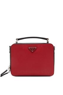 Красно-черная сафьяновая сумка Prada