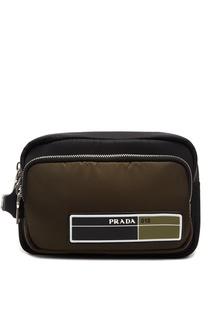 Зеленая сумка на руку Prada