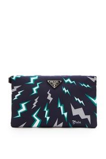 Плоская сумка темно-синего цвета Prada