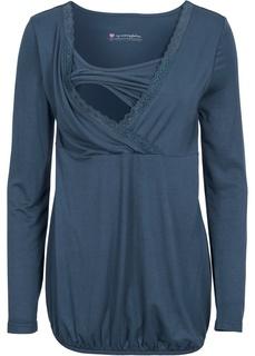 Одежда для беременных Лонгслив с кружевной вставкой Bonprix