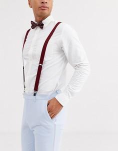 Бордовый галстук-бабочка и подтяжки с цветочным принтом ASOS DESIGN Wedding - Красный
