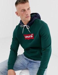 Свитшот с контрастным капюшоном и логотипом Levis - Зеленый