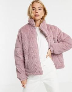 Дутый искусственный полушубок светло-розового цвета New Look - Розовый