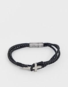 Кожаный браслет с крестом Steve Madden - Черный