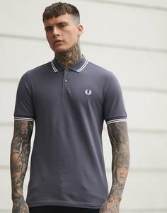 Серая футболка-поло с двойной окантовкой Fred Perry - Серый