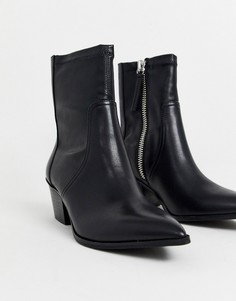 Кожаные полусапожки в ковбойском стиле ALDO Batis - Черный