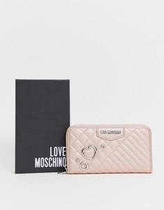 Большой кошелек из искусственной кожи на молнии с заклепками Love Moschino - Розовый