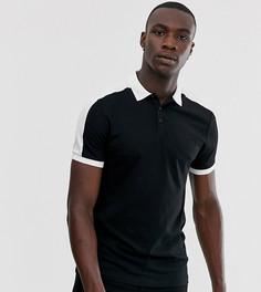 Черная футболка-поло с контрастными вставками на плечах ASOS DESIGN Tall - Черный