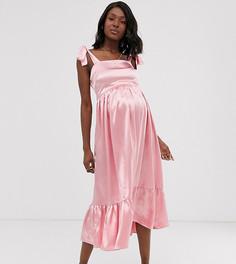 Атласное платье макси с завязками на плечах Wild Honey Maternity - Розовый