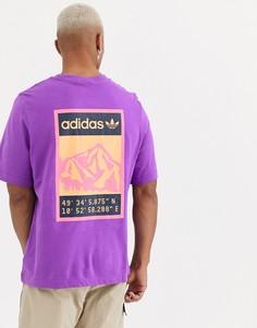 Фиолетовая футболка с принтом на спине adidas Originals adiplore - Фиолетовый