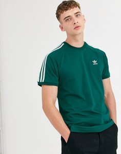 Зеленая футболка с 3 полосками adidas Originals - Зеленый