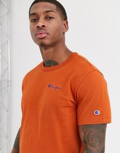 Оранжевая футболка с круглым вырезом и небольшой надписью Champion Reverse Weave - Рыжий