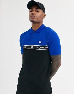 Синяя футболка-поло с окантовкой и логотипом Fred Perry - Синий