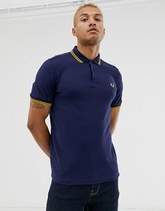 Темно-синяя футболка-поло с контрастным воротником Fred Perry - Темно-синий