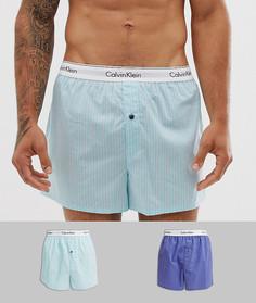 Набор из 2 тканых боксеров зауженного кроя Calvin Klein - Синий