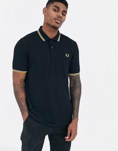 Черная футболка-поло с контрастным воротником Fred Perry - Черный