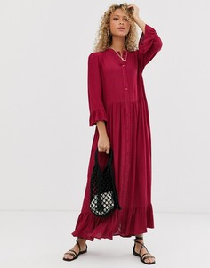 Ярусное свободное платье макси на пуговицах ASOS DESIGN - Красный