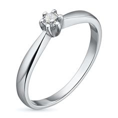 Кольцо из белого золота с бриллиантом э09к091527 ЭПЛ Якутские Бриллианты