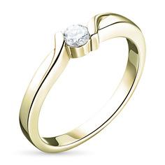 Кольцо из желтого золота с бриллиантом э03к031379 ЭПЛ Якутские Бриллианты