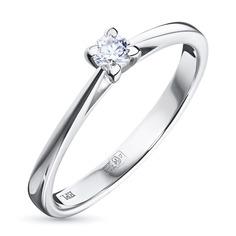 Кольцо из белого золота с бриллиантом э09к101539 ЭПЛ Якутские Бриллианты