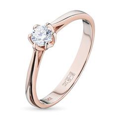 Кольцо из красного золота с бриллиантом э02к051668 ЭПЛ Якутские Бриллианты