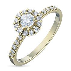 Кольцо из желтого золота с бриллиантами э03к061652 ЭПЛ Якутские Бриллианты