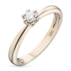 Кольцо из красного золота с бриллиантом э02к021344 ЭПЛ Якутские Бриллианты
