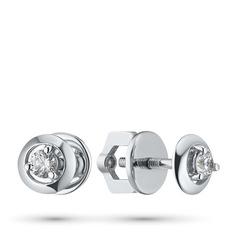 Пусеты из белого золота с бриллиантами п09с100903 ЭПЛ Якутские Бриллианты