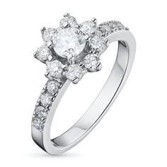 Кольцо из белого золота с бриллиантами э09к031607 ЭПЛ Якутские Бриллианты