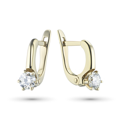 Серьги из желтого золота с бриллиантами э03с080707 ЭПЛ Якутские Бриллианты