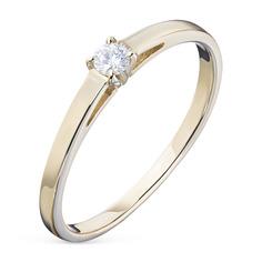 Кольцо из желтого золота с бриллиантом э03к021595 ЭПЛ Якутские Бриллианты