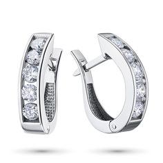 Серьги из белого золота с бриллиантами э09с031359 ЭПЛ Якутские Бриллианты