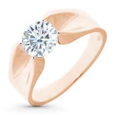 Кольцо из красного золота с бриллиантом э02к071205 ЭПЛ Якутские Бриллианты