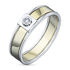 Кольцо из комбинированного золота с бриллиантом э10к081530 ЭПЛ Якутские Бриллианты
