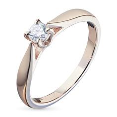 Кольцо из красного золота с бриллиантом э02к101515 ЭПЛ Якутские Бриллианты