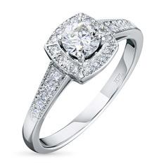 Кольцо из белого золота с бриллиантами э09к111605 ЭПЛ Якутские Бриллианты