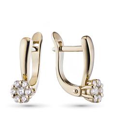 Серьги из красного золота с бриллиантами э02с041528 ЭПЛ Якутские Бриллианты