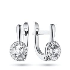 Серьги из белого золота с бриллиантами э09с101774 ЭПЛ Якутские Бриллианты
