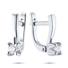 Серьги из белого золота с бриллиантами э09с041608 ЭПЛ Якутские Бриллианты